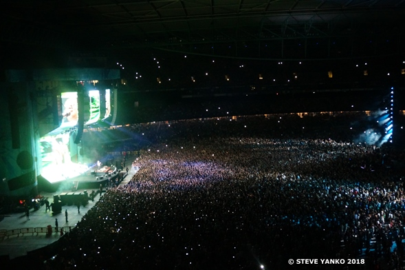 Ed Sheeran performing to a massive audience in Melbourne.