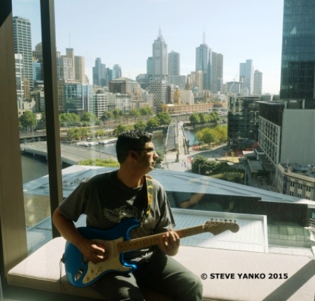 Steve Yanko practicing in a hotel room before a gig.